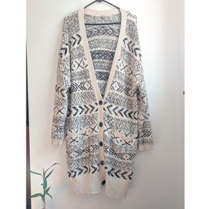Ecoté Aztec Print Boho Chunky Knit Duster Cardigan